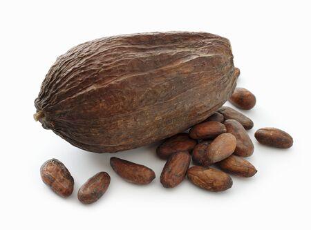 cacao beans: Una vaina de cacao y cacao en grano