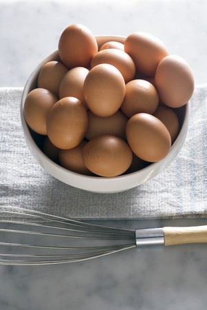 brownness: Bowl of Organic Brown Eggs; Whisk
