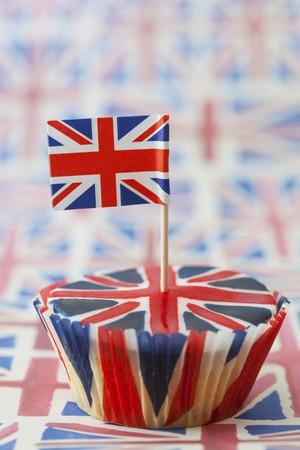 uk cuisine: A Union Jack cupcake