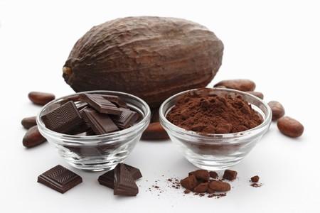 cocoa powder: Chocolate squares, cocoa powder, cocoa beans and a cocoa pod