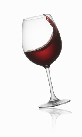 swirling: Tilted red wine glass