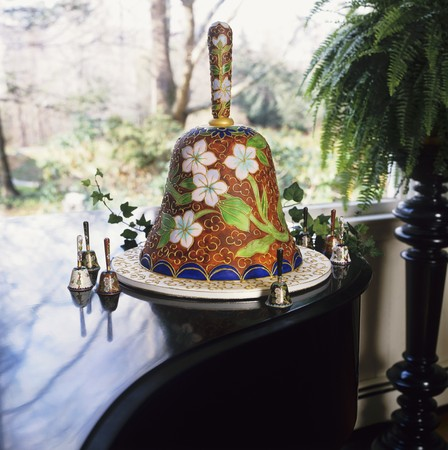 wedding bells: Wedding Bell Cake on a Platter Surrounded by Wedding Bells