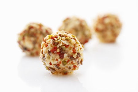 tangy: Tangy cream cheese balls (close-up)