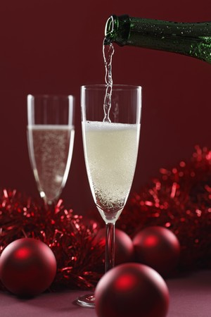 christmassy: Sparkling wine being poured (Christmassy)