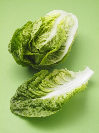 cos: A cos lettuce and a single leaf