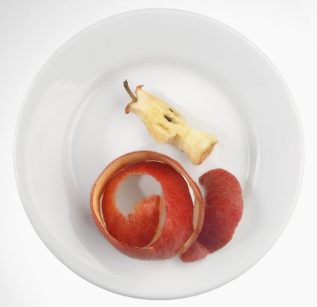 leavings: An apple core and apple peel on a plate