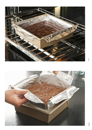 worktops: Brownies Baking in a Foil Lined Pan in Oven; Removing Brownies from Pan by Lifting Foil