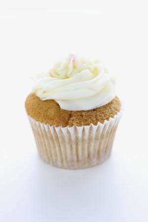buttercream: A cupcake topped with buttercream icing