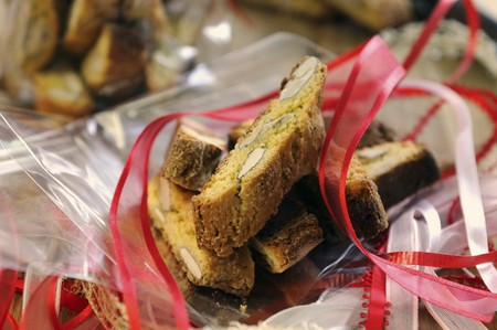 southern european: Cantucci on cellophane paper as a gift