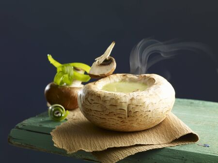 giant mushroom: Cream of mushrooms soup served in a scooped out mushroom cap LANG_EVOIMAGES