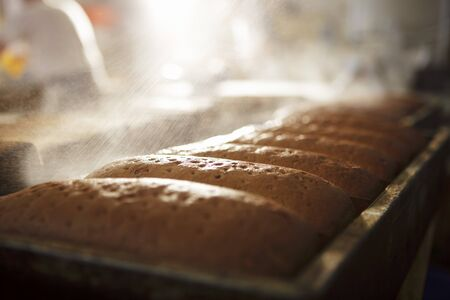 sprayed: Loaves of bread being sprayed with water