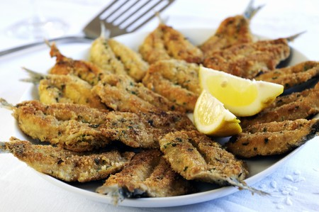 coatings: Fried sardines with a herb and Parmesan crust