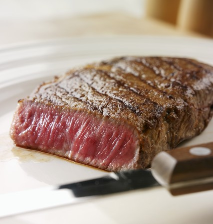 sirloin steak: A rare sirloin steak