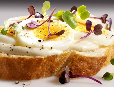 topped: A slice of white bread topped with mayonnaise, egg and cress