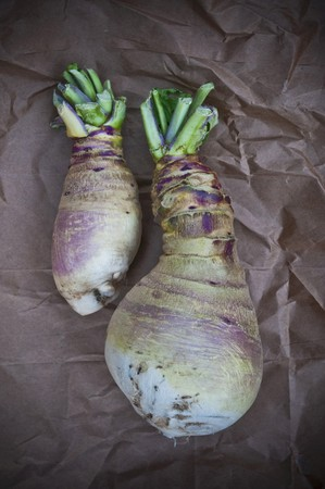 in twos: Two Eastham Turnips on Paper