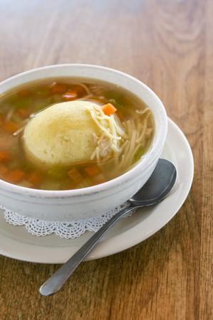 Vegetable broth with matzo dumpling
