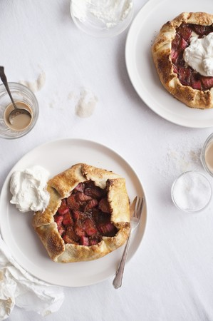 galettes: Galettes (sweet pancakes) with fruit and cream