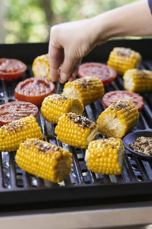 barbecues: Corn on the cob being seasoned on the barbecue