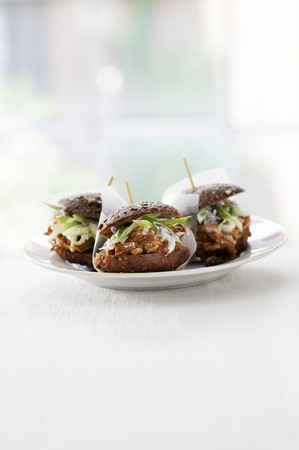 several breads: Jerked Beef Sliders on Multi-Grain Slider Rolls with Toothpicks