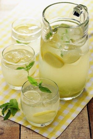 soda pops: Homemade Country Lemonade garnished with some mint leaves, selective focus