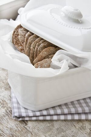 several breads: Rye crackers