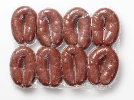 shrink wrapped: Packaged Grützwurst (blood sausages from Germany) LANG_EVOIMAGES