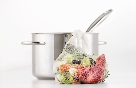 stockpot: Vegetables for soup and a stockpot