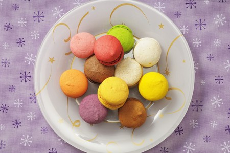 christmassy: Colourful macaroons on a plate (Christmassy)