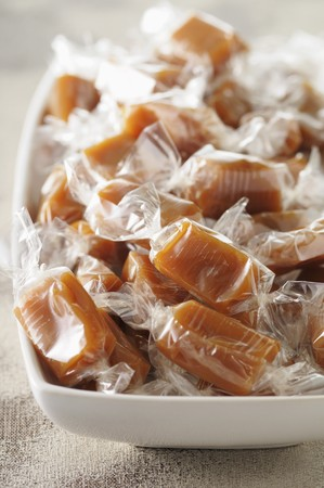 cellophane: Lots of toffees wrapped in cellophane