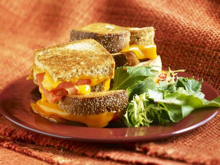 qs: Grilled Cheese and Tomato Sandwich;Quartered and Stacked; Side Salad