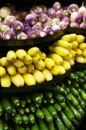 cocozelle: Turnips, Summer Squash and Zucchini on a Market Display