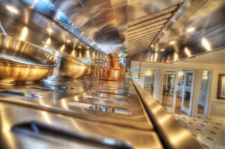 stainless steel kitchen: Copper pots in a stainless steel kitchen LANG_EVOIMAGES