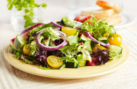 salade verte: Mixed Green Salad on a Plate