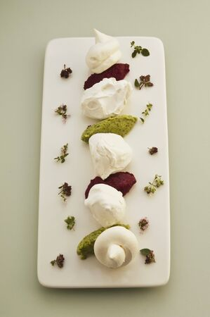 first australians: Meringue with vegetables and herb mousse
