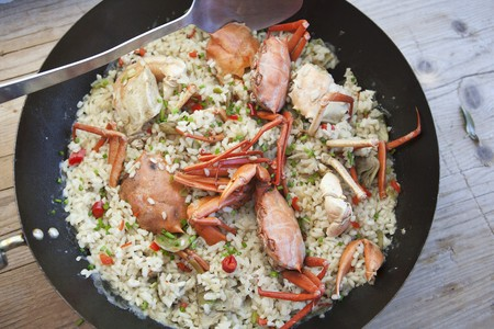marine crustaceans: Fried rice with crabs and vegetables