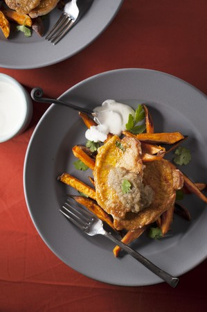 sweet course: Fried Pork Cutlets on Sweet Potato Fries Topped with Pureed Ginger and Apples