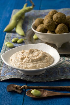 chickpeas: Falafel made with broad beans and chickpeas, served with houmous