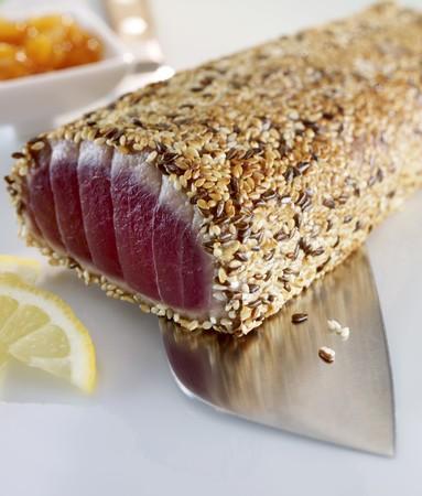 sesame seed: Tuna with a sesame seed crust on a knife