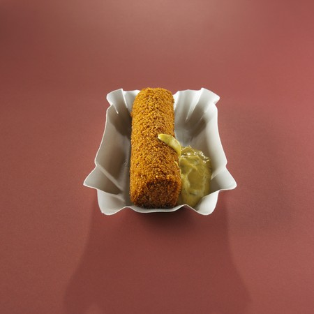 sweet mustard: A meat croquette with sweet mustard (Holland)