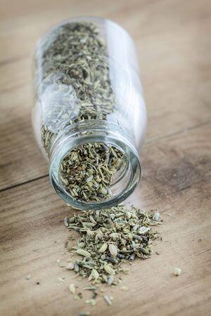 herbs de provence: Herbs de Provence falling out of a jar