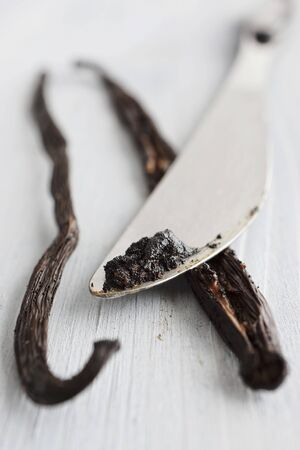 scraped: A vanilla pod and seeds which have been scraped out