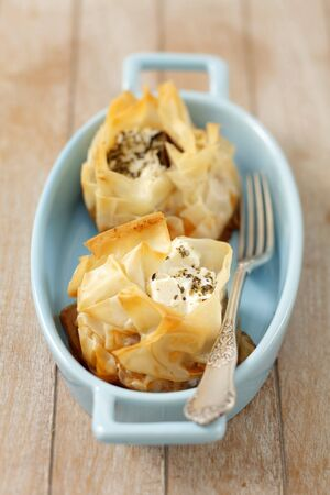 filo pastry: Filo pastry with moussaka and feta