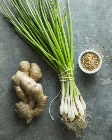 scallions: Fresh Ginger, Scallions and Sesame Seeds LANG_EVOIMAGES