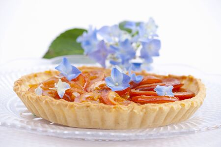 orange tart: Orange tart with blue hydrangea flowers