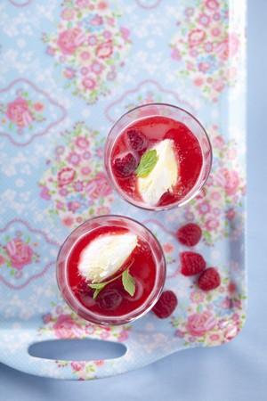 raspberry jelly: Raspberry jelly with vanilla ice cream