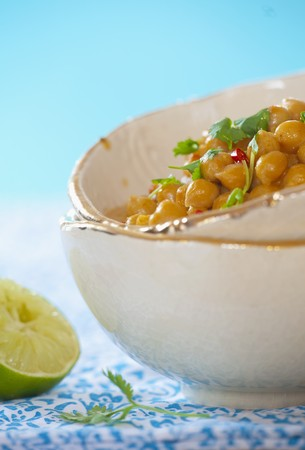 chickpeas: Spicy chickpeas in coconut milk with coriander and chillies