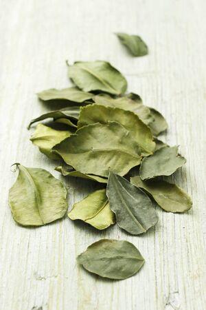 kafir lime: Dried kaffir lime leaves