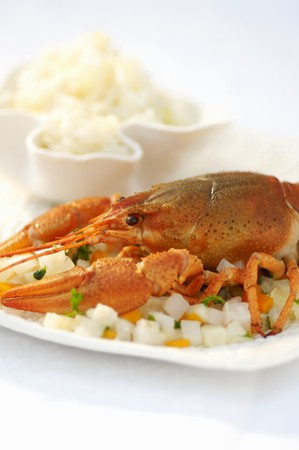rumania: Cray fish on a bed of diced vegetables with a side of rice (Romania)