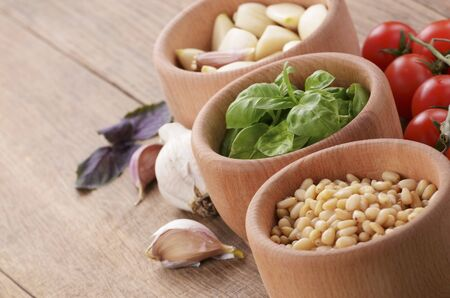 pine kernels: Ingredients for pesto with tomaotes