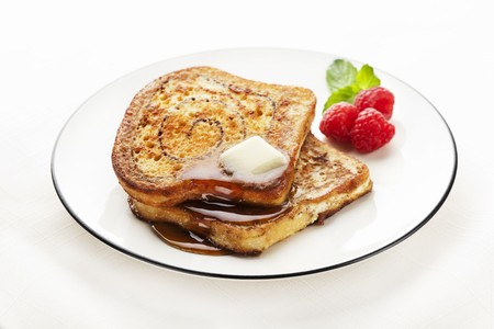 cinnamon swirl: Cinnamon Swirl French Toast with Butter and Maple Syrup